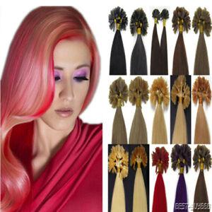 Pre-Bonded Keratin Glue Fusion Nail U Tip Remy Human Hair Extensions 9A 100-200s