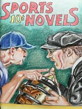 NY Yankees Original Art Aaron Boone Pulp Cover Recreation Vintage Baseball Book