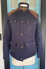 LRL Lauren Ralph Lauren Quilted Equestrian Jacket Zip Up Suede Petite M Preppy
