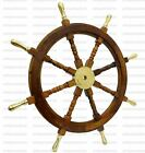 36 Inch Ship Wheel Steering Collectible Nautical Decor Brass Handle Wall Decor