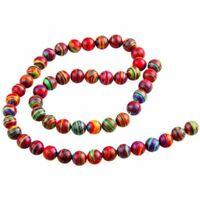 1X(8mm Rund Howlith Perlen Beads Strang Bunt Halbedelstein Y6C7) DA