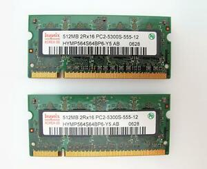 Hynix Laptop Memory (2 X 512MB) 2RX16 PC2-5300S-555-12 HYMP564S64BP6-Y5 AB 0628