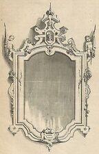A4492 Cornice in ceramica a smalto - Incisione - Stampa Antica del 1887