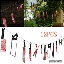 12X Cuchillos colgantes Decoración Halloween Spooky Apoyos Fiesta Haunted CASA