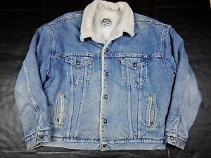 Vtg Levis Men's 70609 4891 Sherpa Lined Denim Blue Jean Jacket XL USA