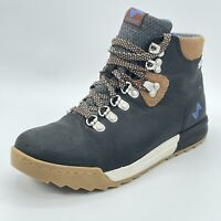 Forsake Womens Patch Black Leather Waterproof Hiking Boots Lace Up Mid Size 7