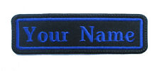 RECTANGULAR CUSTOM EMBROIDERED NAME TAG  Iron / Sew on patch (Blue)