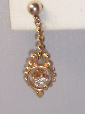VINTAGE 14K YELLOW GOLD DIAMOND DANGLE POST PIERCED EARRINGS
