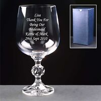 Personalised Engraved Crystal Wine Glass 40th 50th 60th Wedding, Birthday Gift