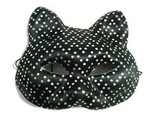 Black & Silver Dots Cat Sexy Woman Mardi Gras Adult Costume Party Mask