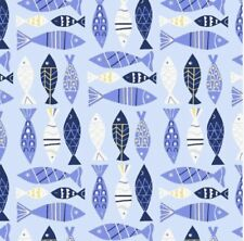 50cm x 112cm Seaside Marine Light Blue Fish Windham Fabrics 100% Cotton