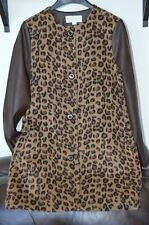 MICHAEL KORS COAT FAUX FUR FAUX LEATHER LEOPARD- Sz 6 - EXCELLENT!!!-$375