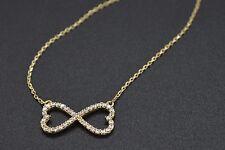 PM157 Created Diamond 0.20ct Heart Infinity Pendant 14K Yellow Solid Gold Chain