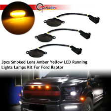 For Ford F-150 Raptor Front Grille 3pcs Black Lens Amber LED Lamp Running Lights