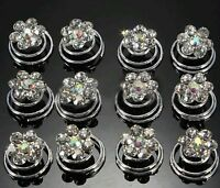 12 Bridal Wedding Prom Silver Crystal  Flower Hair Coils Spirals Twists Pin