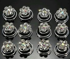 12 Bridal Wedding Prom Silver Crystal Flower Hair Coils Spirals Twists Pin