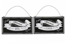 Kitchen Open / Closed Sign - Vintage Style Wood - Double Sided - Pub Cafe Home