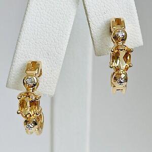 Ross Simons Citrine & Diamond Accent 18K Gold over Sterling Silver Earrings