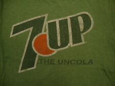 """7-Up """"The Uncola"""" Classic Retro Distressed Brand Logo Soft Green T Shirt M"""