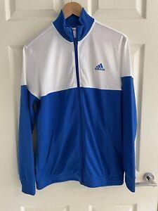 Adidas Boys Kids White Blue Hoody Track Top, Age 15-16