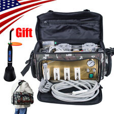Portable Dental Turbine Unit 4 Hole Air Compressor Suction System & Curing Light