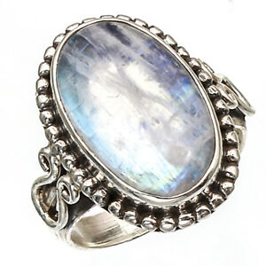 Rainbow Moonstone Natural Gemstone Ring 925 Sterling Silver Jewelry Ring 3 to 12