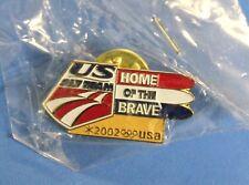 US SKI TEAM HOME OF THE BRAVES PIN - PINBACK BADGE HAT - USA SKIING - SKI'S