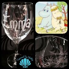 Personalised Moomin Cartoon Wine Glass Gift Handmade Any Name Engraved For Free!