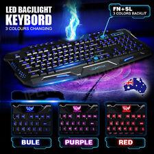 LED USB Gaming Ergonomic Keyboard with 3 Color Backlit/Backlight PC Keyboard