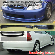 Mu-gen Style Front (PU) + CTR Rear Lip (PU) + Grill (Mesh) Fit 99-00 Civic 3dr