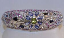 GENUINE! RARE 9.34tcw! Tanzanite Sapphire, Ruby & Peridot, Cuff S/Silver 925!
