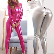 PVC Leather Wetlook Catsuit Bodysuit Jumpsuit Costume Zipper Clubwear For Women