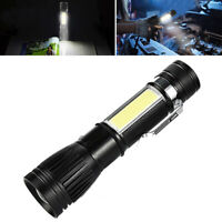 Penlight Metal Zoomable light Rechargeable Torch COB Lamp LED Flashlight