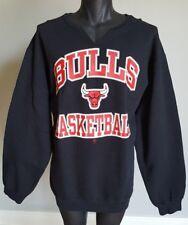 VTG Chicago Bulls Sweatshirt STARTER NBA Men's XXL/2XL Black V Notch Crew Neck