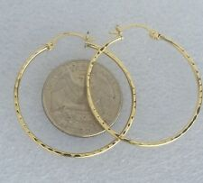 Big solid 10k Yellow Gold Round Hoop Earrings  35x35x1 mm