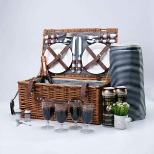 Arkmiido The Retro Classic 4 Person Picnic Basket   Wonderful Picnic Weekend