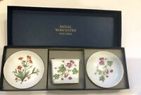 Royal Worcestshire Minton Boxed Set of 3 - Vase plus 2 Pin Dishes Meadow Malva