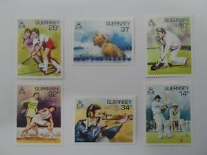Discount Stamps : GUERNSEY 1986 #336-41 SWIMMING FIELD HOCKEY SPORTS 6v MNH SET