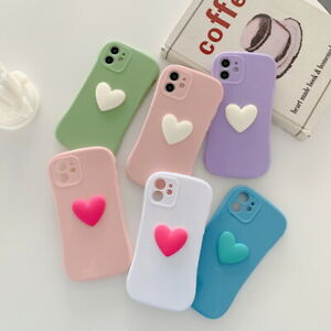 3D Heart Shockproof Soft Case Cover For iPhone 12 Pro Max 11 XR X XS 7 8 6 Plus