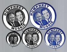 1968 HUBERT H. HUMPHREY & ED MUSKIE POLITICAL CAMPAIGN BUTTON GROUP C