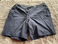 Duluth Trading Co Dark Blue Nylon Drawstring Waist Flat Front Shorts Women's 20