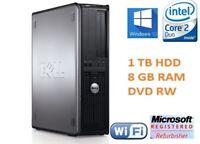 DELL 1TB 8GB RAM CORE 2 DUO TOWER PC WINDOWS 10 COMPUTER DESKTOP DVDRW 1YR WRNTY