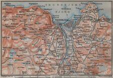 TRONDHEIM Trondhejm environs. Norway kart. BAEDEKER 1912 old antique map chart