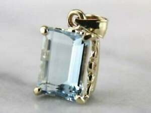 3.00Ct Emerald Cut Aquamarine 14k Yellow Gold Over Necklace Four Prong Pendant