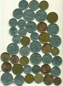 42 DIFFERENT COINS from SOUTH AFRICA (12 TYPES/7 DENOMINATIONS)..Lot #2