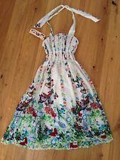 Fine Threads London Fleur Robe Femmes Taille 10 Blanc avec fleurs NEUF