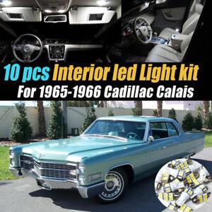 10Pc Super White Car Interior LED Light Bulb Kit for 1965-1966 Cadillac Calais