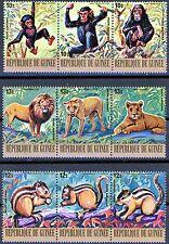 Guinea 3 Strips of 3 MNH Airmail Scott's C140 to C142 Chimps Lions Chipmunks