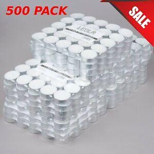 (500-Pack) Bulk Wholesale 5-6 Hour Unscented WHITE Palm Wax Tea Light Candle