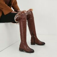 Womens Fashion Winter Fur Trim Side Zipper Chunky Low Heels Knee High Boots C296